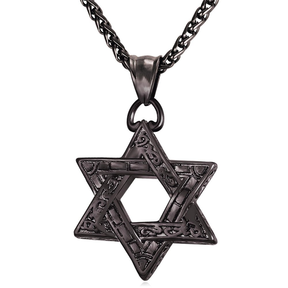 Star of David Pendant Necklace, Men and Women Magen Hexagram Pendant Necklace Jewish Jewelry Israel Necklace U7 Jewelry U7 GP2096k