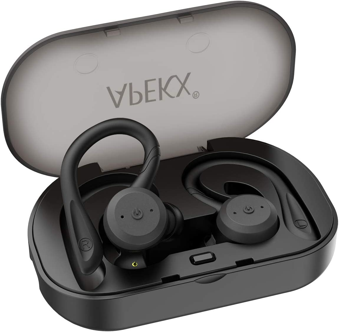 Wireless Headphones APEKX True Wireless Bluetooth 5.0 Sports Earbuds, IPX7 Waterproof Stereo HiFi Sound, Built-in Mic Earphones with Charging Case Black