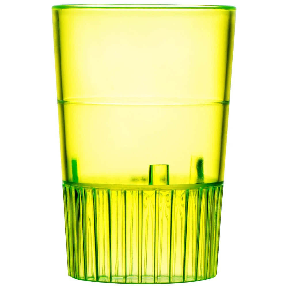 Fineline Quenchers 4110-Y 1 oz. Neon Yellow Hard Plastic Shooter Glass - 500/Case by Fine-line