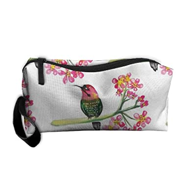NSDxfckSO195 NEW A Bird On A Branch Of A Pink Flower Women¡¯s Travel Cosmetic Bags Small Makeup Clutch Pouch Cosmetic And Toiletries