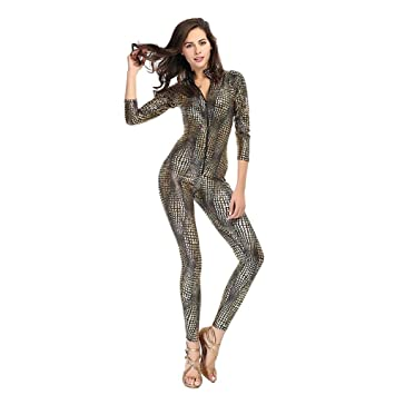 ea0cb3ebe7ec FUNFSEX Women Sexy Metal Black Gold Silver Snake Skin Faux Leather Zipper  Fornt Bandage Jumpsuit Bodysuit