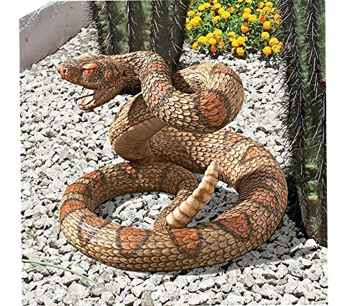 (Outdoor Garden Backyard Décor Patio Premium Western Diamond Back Rattlesnake Garden Animal Statue, 13 Inch, Polyresin, Full Color Decorative Design)