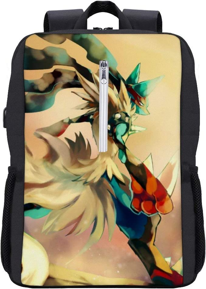 Poke-mon School bookbag,Mega Lucario,Laptop Backpack 15.6 Inch with USB Charging,Stylish Business College Travel Casual Daypack for boys and girls