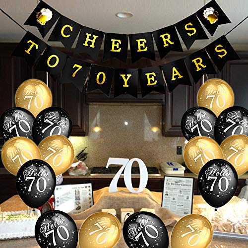 Konsait 70th Birthday Party Decorations Kit Cheers To Banner For Her Him