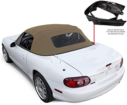 Tan Rain Rail 1990-2005 - Compatible with Mazda Miata Convertible Top with Plastic Window /& Attached Pre-Installed