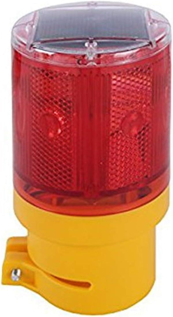 RISOON Solar 6 LED Waterproof Strobe Warning Light, Wireless Install for Garden Warning Lamp,Flashing Barricade Light, Road Construction Safety Signs, Flash Traffic Light,Crane Tower (Red)