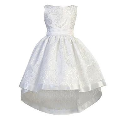 d30e77756beae Ellie Kids Little Girls White Lace Satin Sash Bow Hi-Low Flower Girl Dress 2