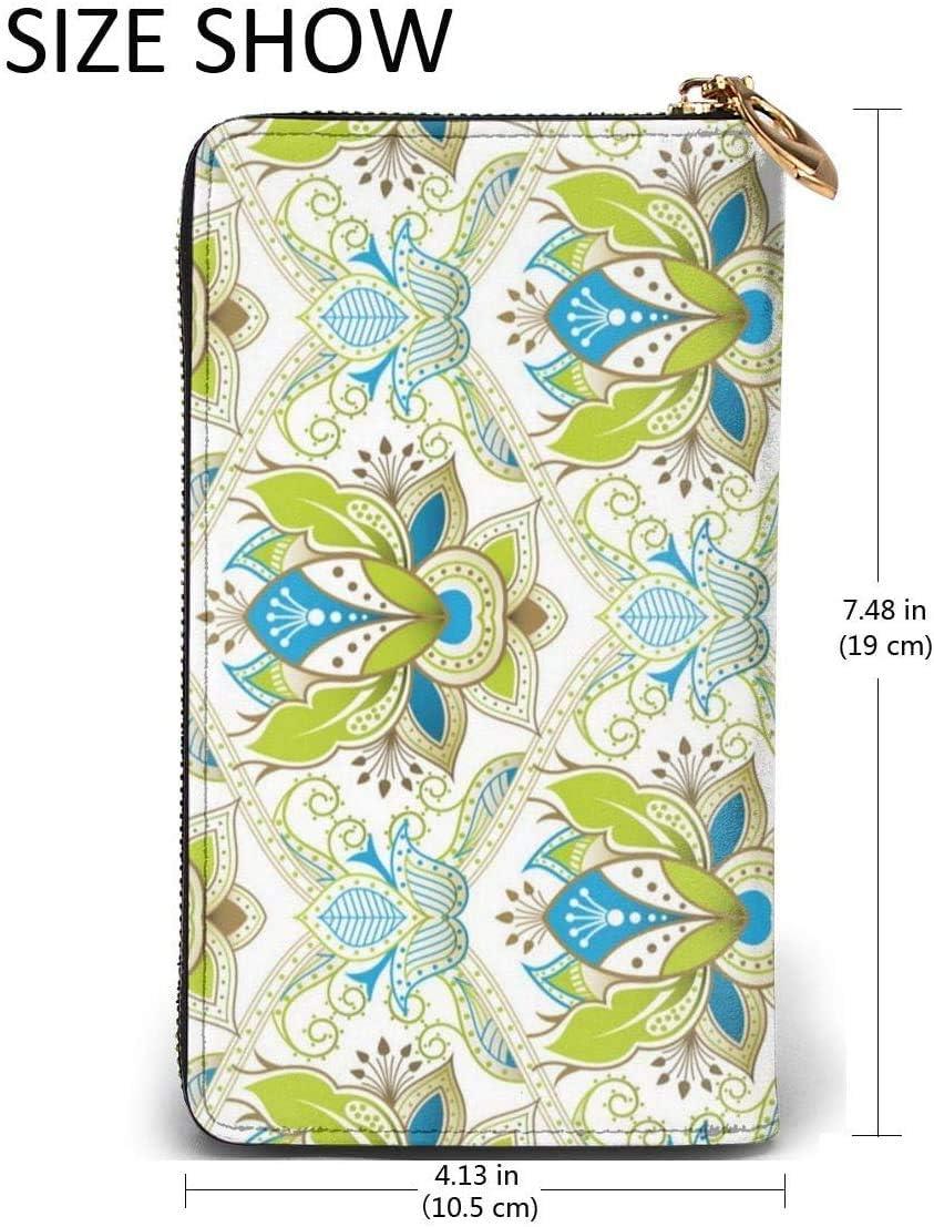 naotaori Portefeuille Femme Oriental Floral Pattern Womens Leather Wallets RFID Blocking Zip Around Wallet Clutch Bag Card Holder Fashion Wristlets Coin Purse