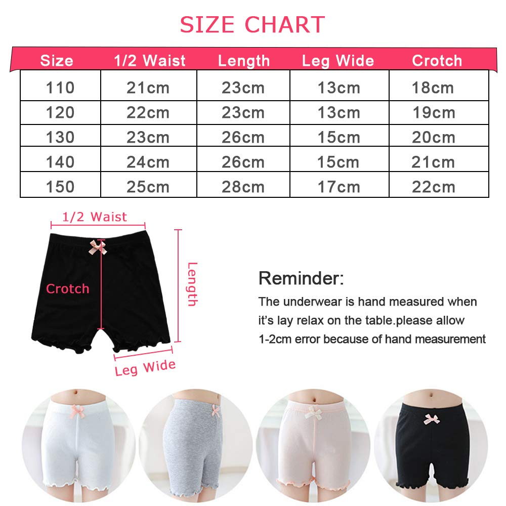Auranso Girls Dance Shorts 4 Pack Dress Short for Kids Toddler Dancing Bike Stretchy Pants Breathable and Safety 2-8 Years