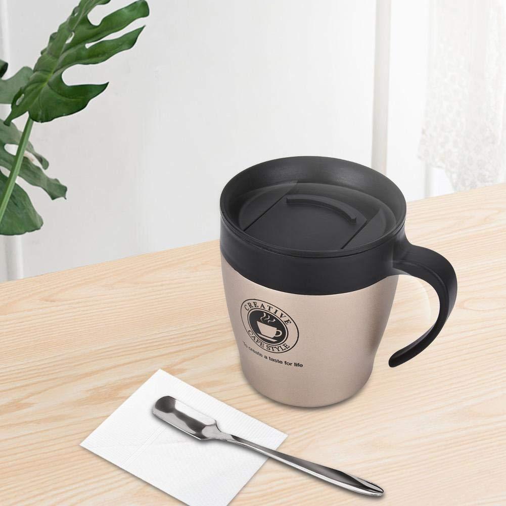 03 Famus Tazza di Acqua della Tazza da caff/è dellisolamento Termico dellAcciaio Inossidabile con Il Coperchio del Cucchiaio Messo per Il Viaggio dellufficio