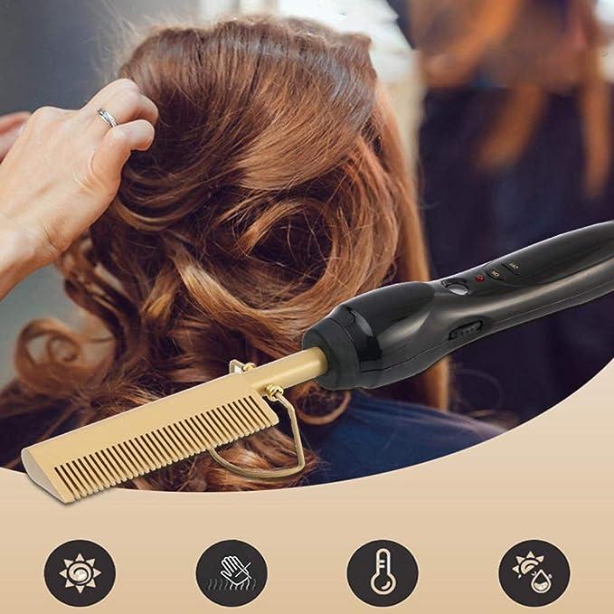 Godya Peigne Lisseur Cheveux Bouclés Double Usage