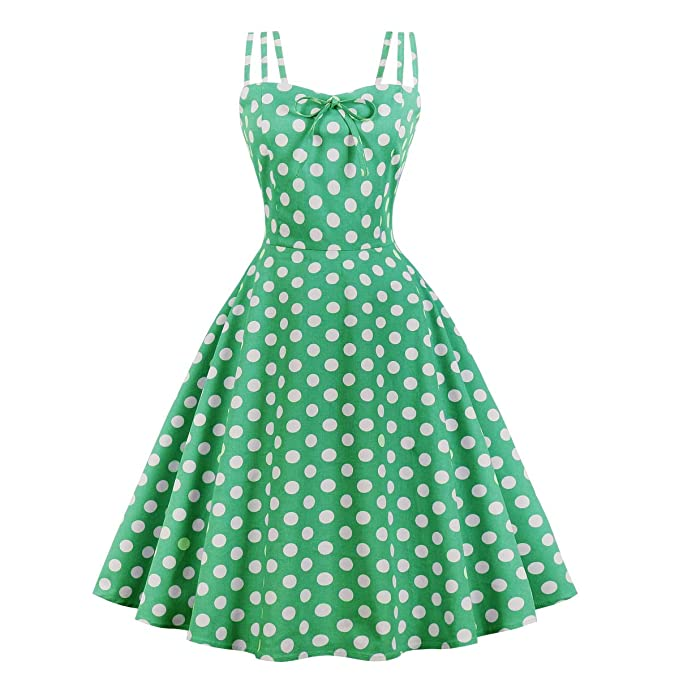 500 Vintage Style Dresses for Sale | Vintage Inspired Dresses Wellwits Womens Cami Strap Yellow Polka Dots Tea Party 1950s Vintage Dress $23.98 AT vintagedancer.com