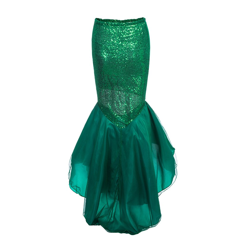 DPWELL Mermaid Costume Womens Fancy Dress Paillettes Fishtail Outfit Mermaid Tail Skirt Maxi Gonna