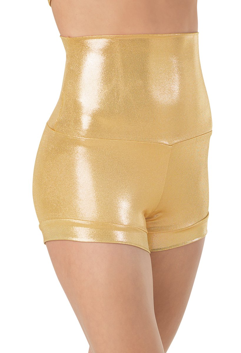 Balera Dance Metallic Shorts High Waist Gold Child Medium by Balera