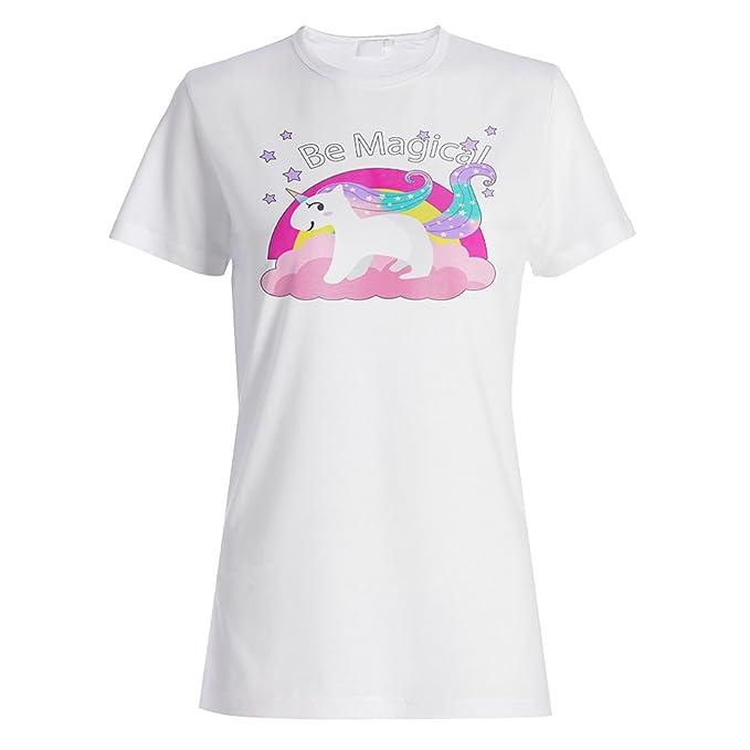 INNOGLEN Dibujado a Mano Colorido Unicornio Camiseta de Las Mujeres v503f