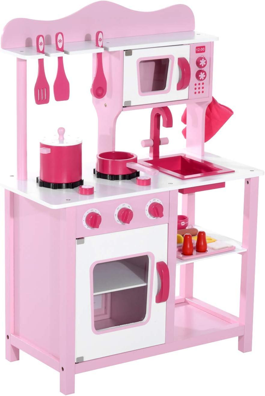 HOMCOM Cocina de Juguete para Niños Set Juego Cocinita Madera Infantil 3 Años Juego de Imitación 60x30x84.5cm Rosa