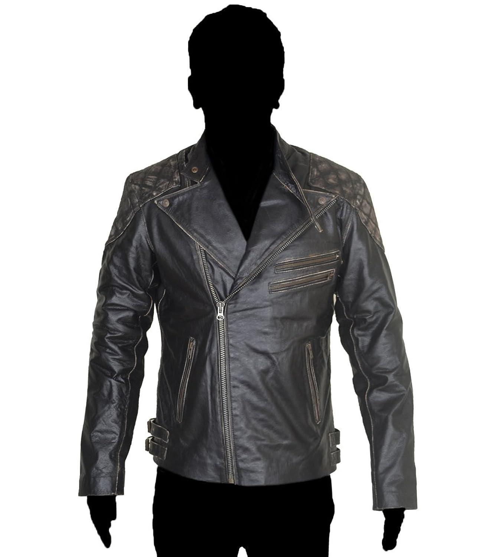HLS Danger Skull Motorbike Cowhide Leather Jacket XXS-5XL Distress Brown