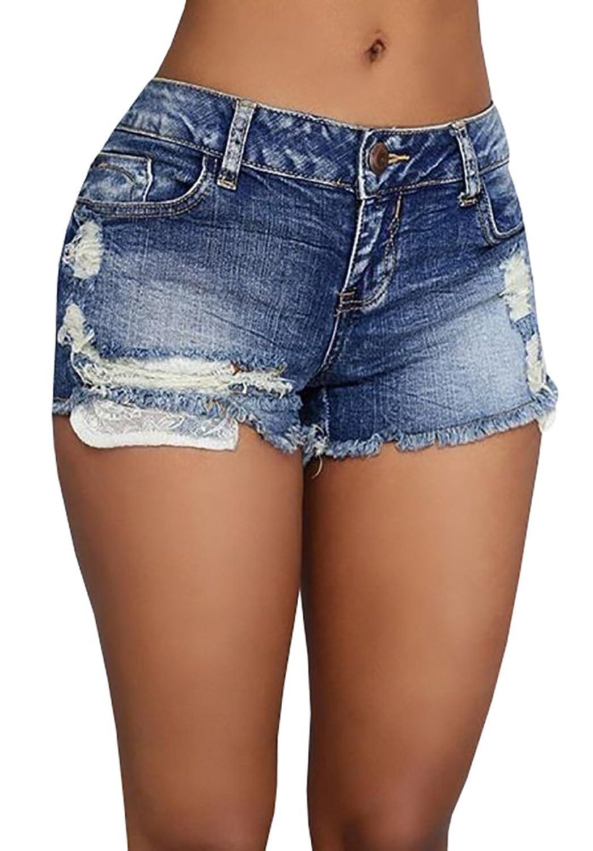 Ermonn Women's High Waist Distressed ripped jean Denim Shorts