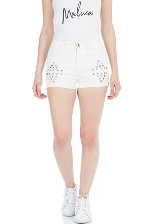 Damen Jeans Shorts High Waist Hot Pants Mit Spitze Hoher Bund Stretch Hose Kurz Kleidung & Accessoires Kleidung & Accessoires