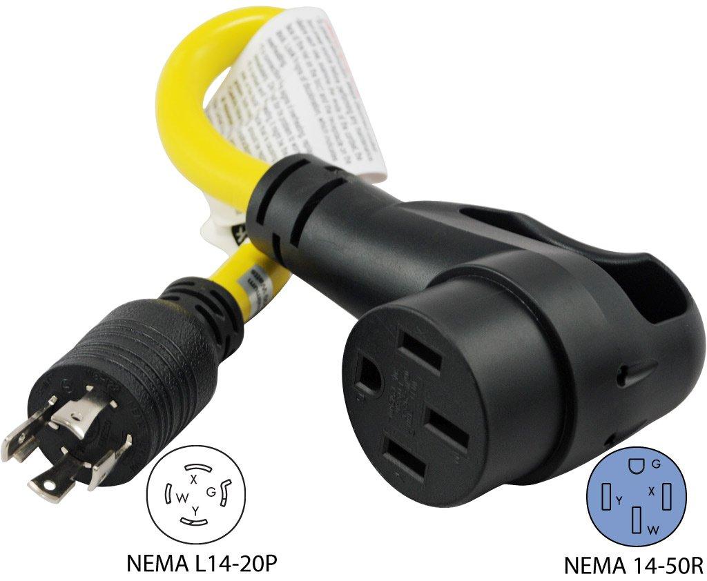 Conntek 15875 15 Feet Rv Generator Adapter L14 20p 20a Nema 20r Wiring Diagram 4prong Locking Plug To 14 50p 50a 125 250v Lighted Automotive