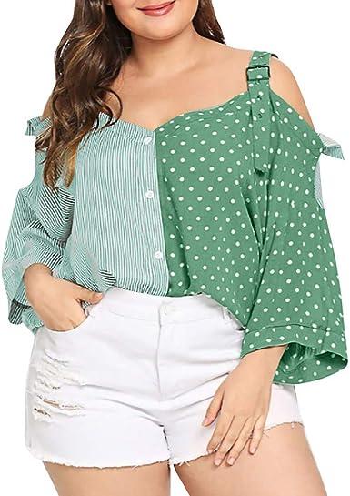 Wyxhkj Camisas Tallas Grandes para Mujer Blusa Manga Corta Hombro Descubierto Tops Puntada Rayas Estampado Camiseta Tirantes Mujer: Amazon.es: Ropa y accesorios