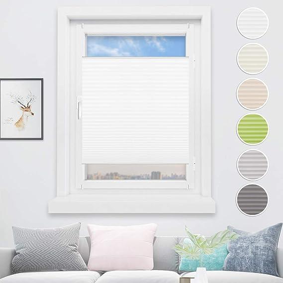 HOMEDEMO Plisseerollo Klemmfix Schalosien Plissee ohne Bohren Jalousie für Fenster und Tür Sichtschutz und Sonnenschutz 75 x