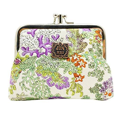 Flower Change Purse (Cute Floral Buckle Coin Purses Vintage Pouch Kiss-lock Change Purse Wallets (06))