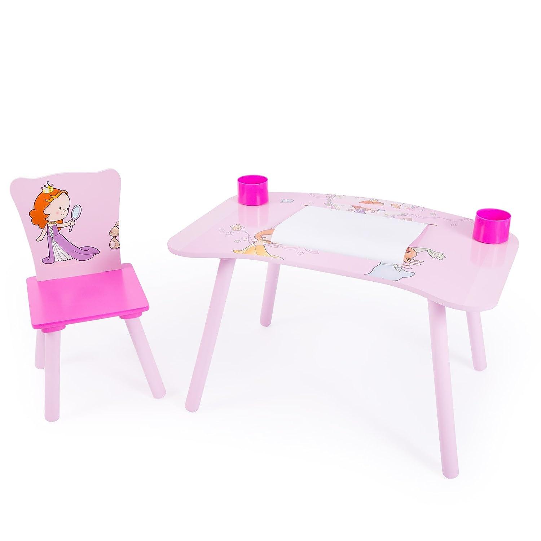 HOMESTYLE4U Stuoia di studio per bambini Homework scrittoio con motivo principessa, legno, multicolore, 30x 30x 30cm HOMESTYLE4U_1111