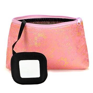 Amazon.com: 1 bolsa de maquillaje de seda rosa con espejo ...