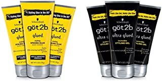 product image for Got2b Ultra Glued Invincible Styling Hair Gel, 6 Ounce (Pack of 3) and Got2b Styling Spiking Hair Glue, 6 Ounce, 3 Count