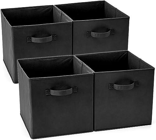 EZOWare Set de 4 Caja de Almacenaje, Cubos Organizador de Tela Plegable, Cajas de Almacenamiento para Ropa, Juguetes, Roperos, Armarios, Estanterías - 33 x 38 x 33 cm - Negro: Amazon.es: Hogar