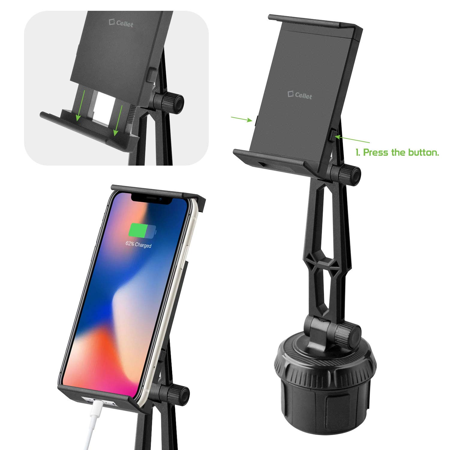Cellet Adjustable Cup Holder Cell Phone Mount Universal Car Cradle Compatible with iPhone 11 Pro Max Xr Xs Max X 8 Plus Galaxy S10 S9 S8 A50 Note 10 9 8 Pixel 4 3 XL LG G8X ThinQ HTC Motorola