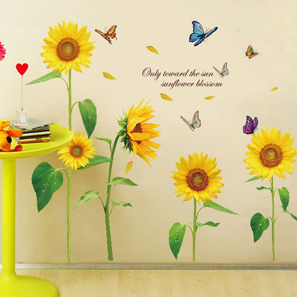 Amazon ウォールステッカー ヒマワリ 夏 花 フラワー カラフル 蝶々
