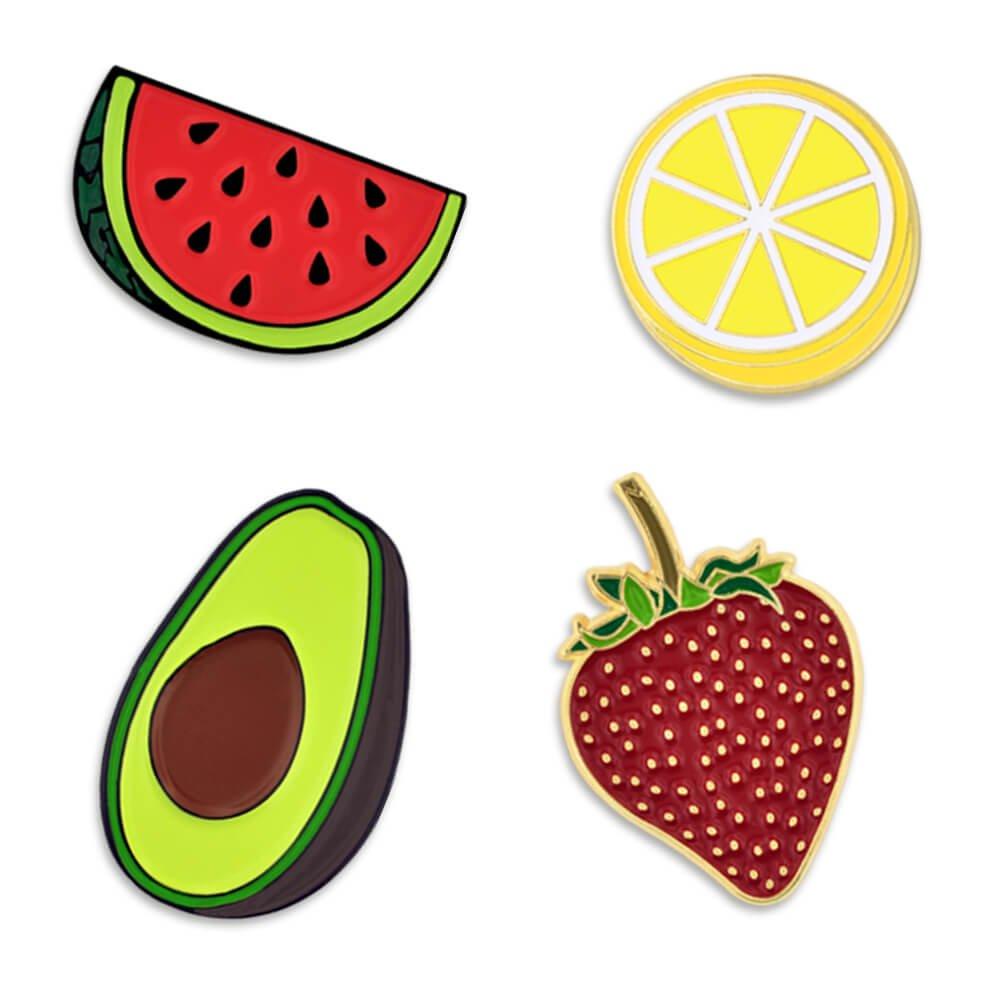 PinMart Summer Fruit Watermelon Lemon Avocado Strawberry Enamel Lapel Pin Set