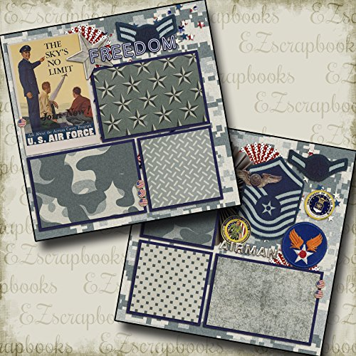 AIR FORCE - Premade Scrapbook Pages - EZ Layout 136