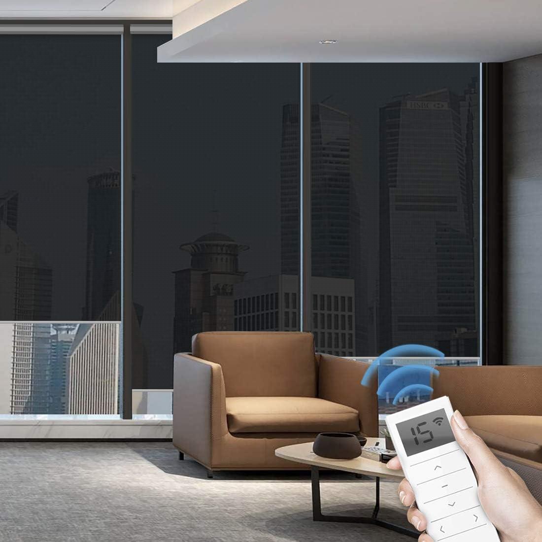 Graywind - Persianas enrollables motorizadas, 50 % de filtración de luz, persianas enrollables a prueba de fuego, persianas inalámbricas para ventana con cenefa para hogar inteligente, oficina y lugares de negocios, tamaño