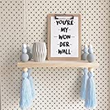 Nordic Style Decorative Display Stand Wall Hanging Shelf Swing Rope Wooden Floating Shelves Kids Room Home Decor (Blue Gray with Blue Tassels)