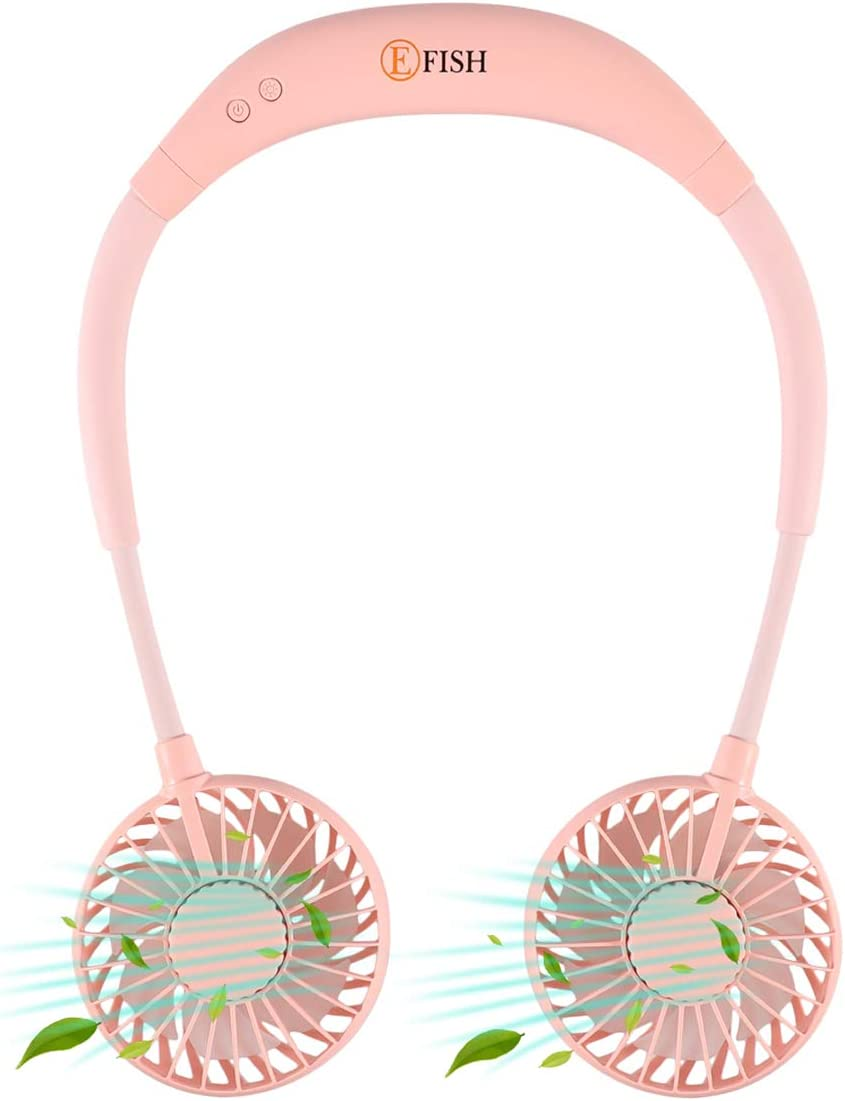 EFISH Portable Neck Fan,Neck Hanging Fan USB Charging - Personal Mini Sport Neckband Fan Rechargeable with 3 Speeds Adjustable and LED Light for Travel Outdoor Office (Pink)