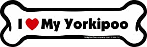Imagine This Bone Car Magnet, I Love My Yorkiepoo, 2-Inch by 7-Inch