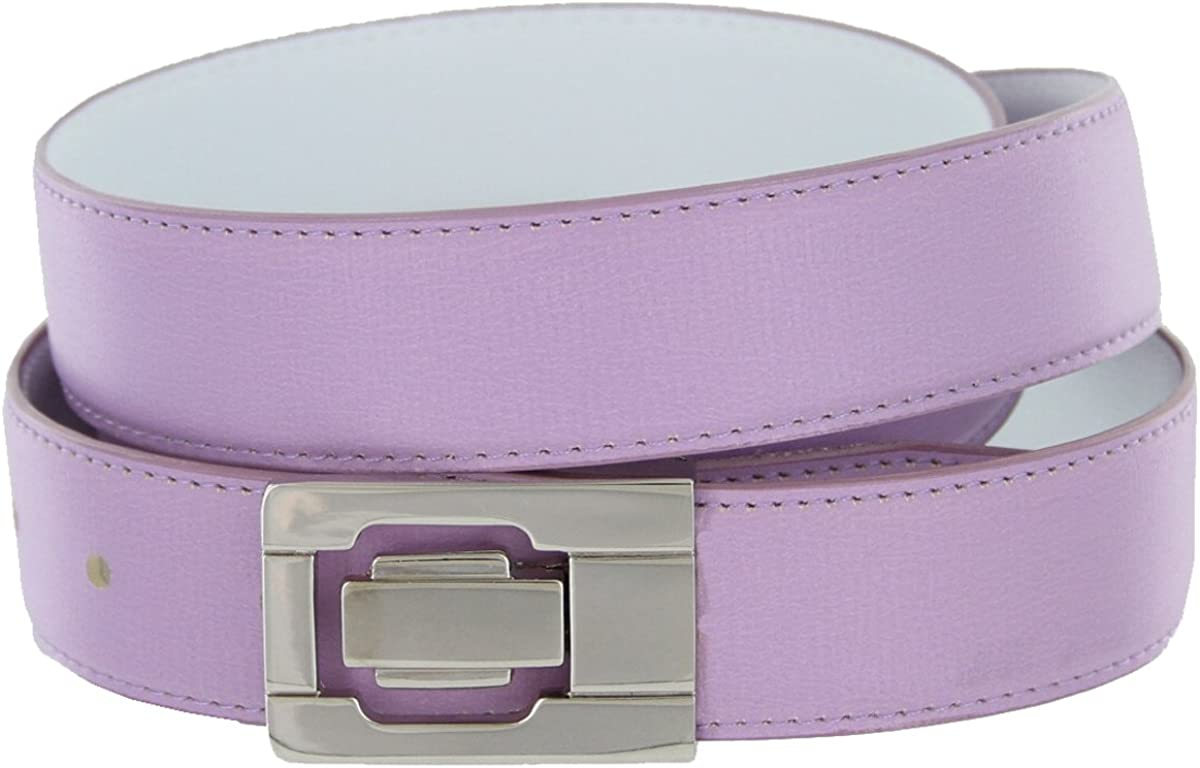 Leather Dress Belt Lavendar with Nickel Plated Channel Buckle