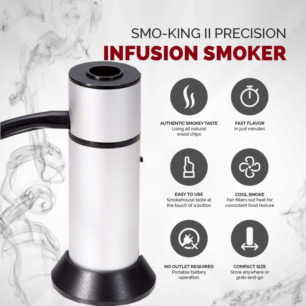 Portable Smoke Infuser, HUGGD Smoking Gun Food Smoker to Enhance Taste for Meat,Sous Vide, Grill, Bbq, Cocktail Drinks & Cheese. Uses Real Wood Chips (Silver) by HUGGD (Image #4)