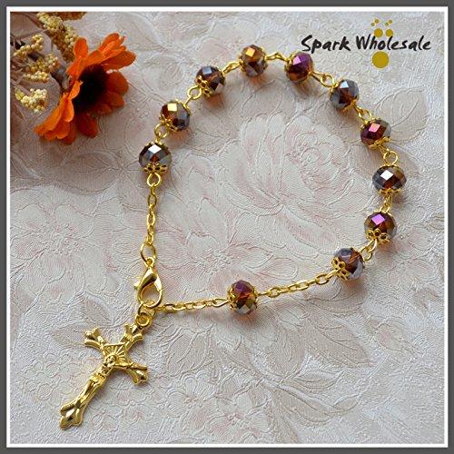 (Turnon 25pcs/lot Catholic Gold Capped Transparent Glass Bead Rosary Bracelet Religious Cross Charm Bracelet Communion Baptism Favors(amber))