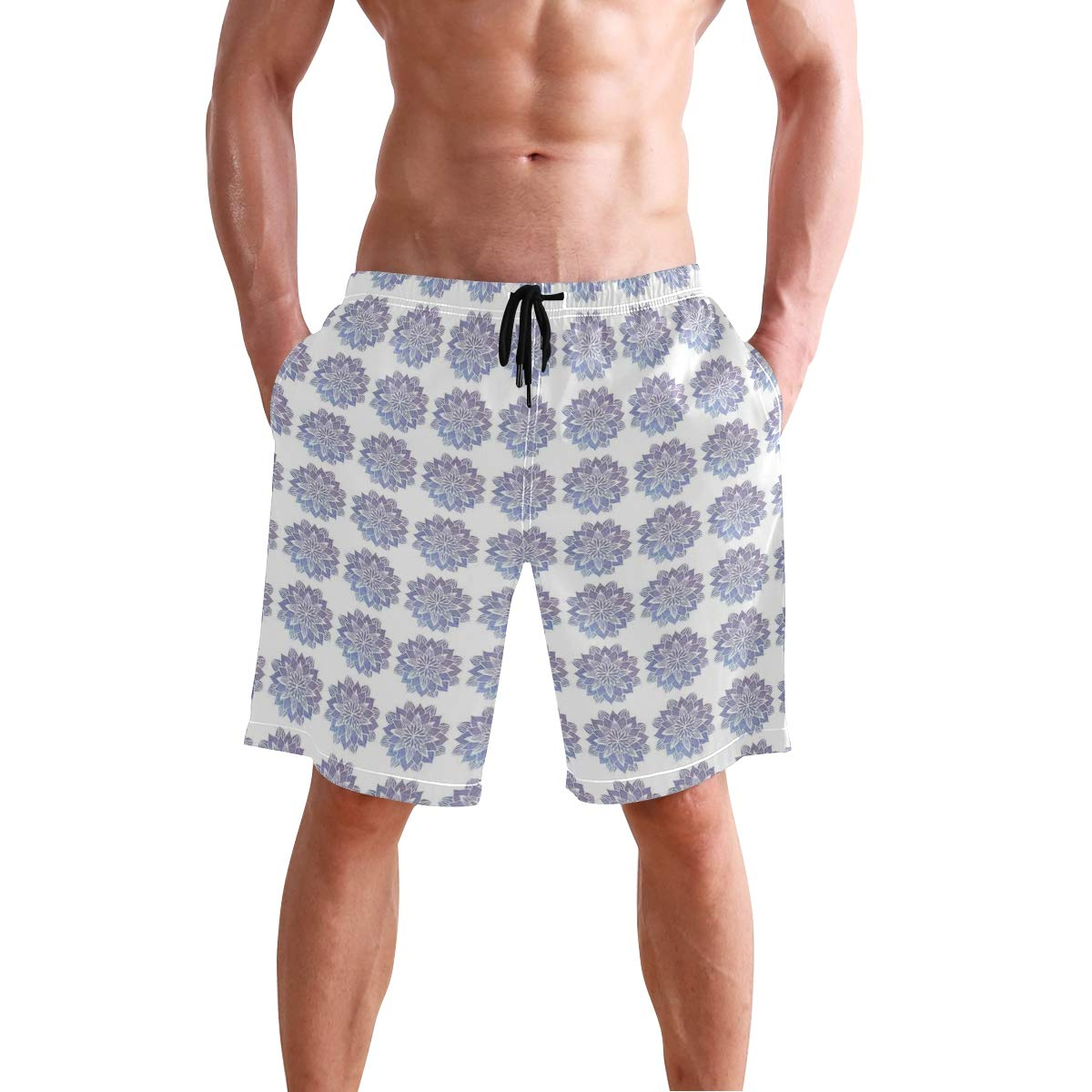 KVMV Hand Drawn Style White Flowers On Blue Background Classic Delft P 5size Beach Shorts