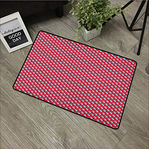 - Outdoor Door mat W19 x L31 INCH Abstract,Pattern in Retro Style with Simple Repeating Ornamental Shapes, Blue Dark Blue Dark Coral Non-Slip Door Mat Carpet