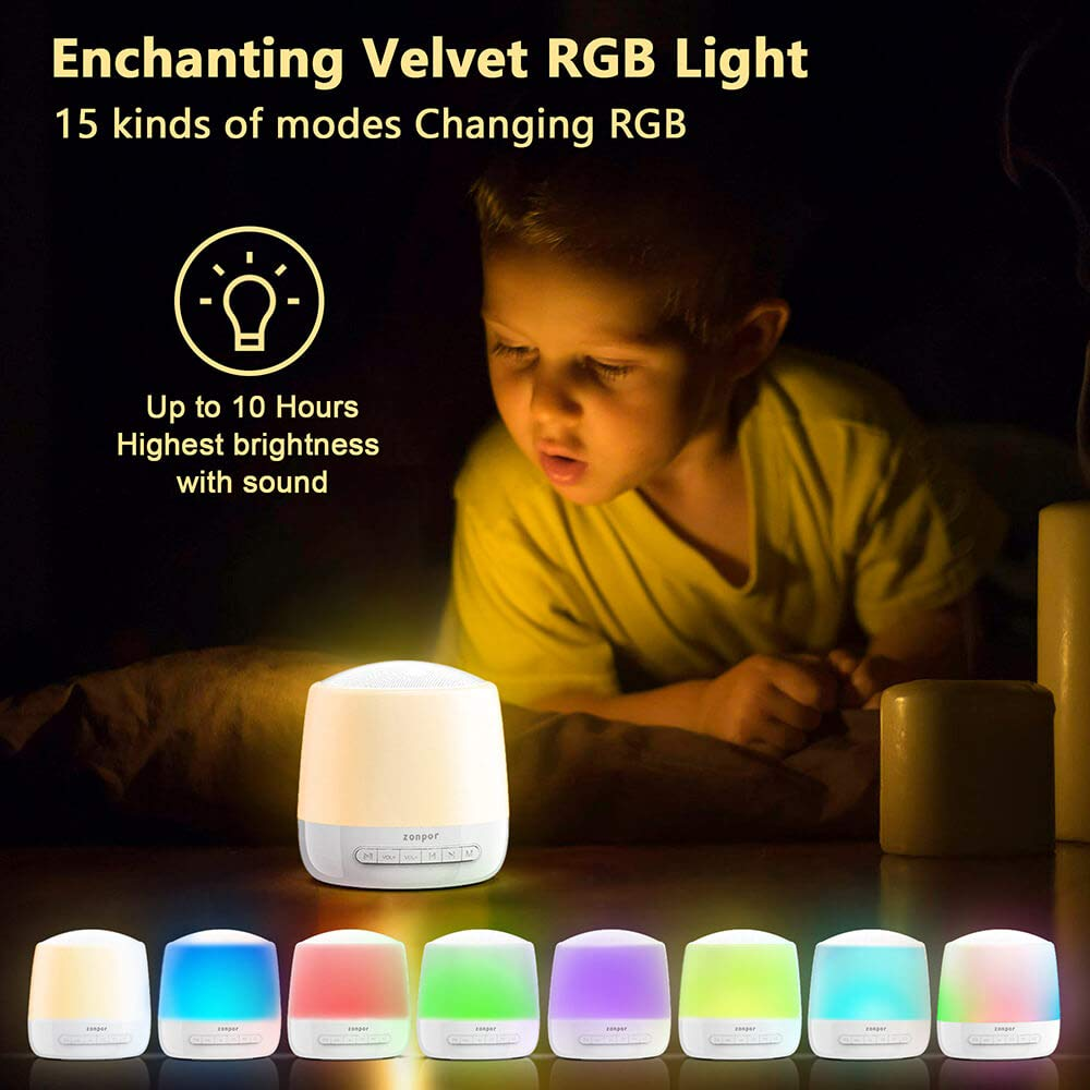 Touch Control LED Nursery Bedside Lamp USB Rechargeable White Noise Machine for Sleeping Kids Adult Dimmable Warm White Light /& Color Changing RGB Sound Machine Baby with Night Light Timer