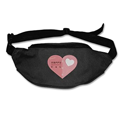 chic Unisex Pockets Happy Mother's Day Fanny Pack Waist / Bum Bag Adjustable Belt Bags Running Cycling Fishing Sport Waist Bags Black