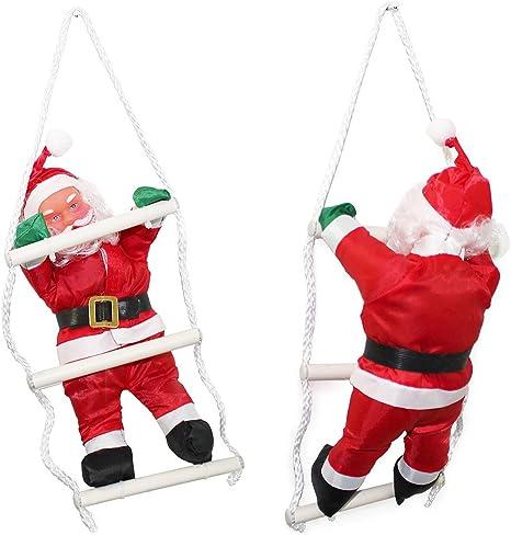 SSITG 32 cm Papá Noel Am Cuerda Escalera Navidad decoración Figura de Navidad Papá Noel Rojo: Amazon.es: Jardín
