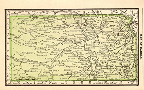 1888 Antique Miniature Kansas Map Original Vintage Miniature Map of Kansas Rare Size Not a Reprint Home Decor Gallery Wall Art Birthday Wedding Gift (1096 Miniature)
