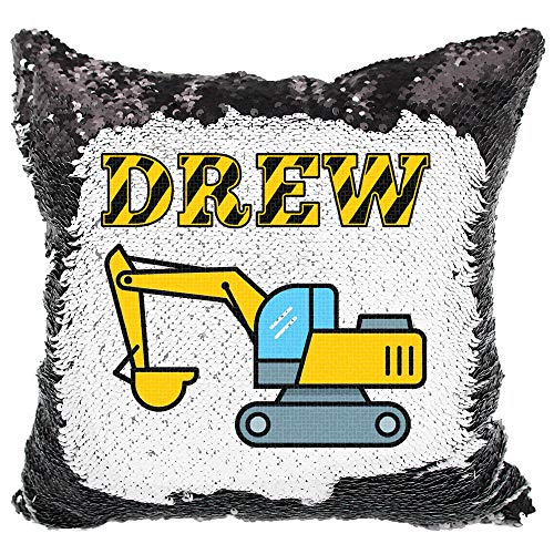 Personalized Construction Sequin Pillow for Boys, Custom Reversible Sequin Pillow (Black/White)