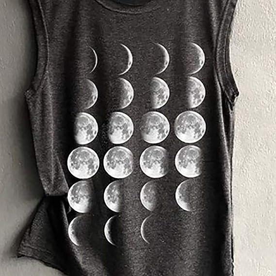 Amazon.com: Toponly Moon Change Cycle Printing Shirt Tank ...